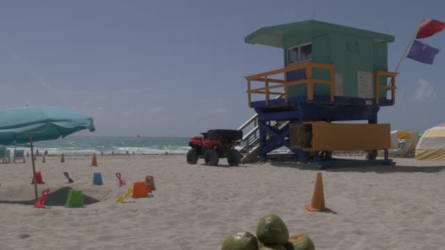Lifting shot of colourful lifeguard watchtower on Miami Beach, South Beach, Miami, Florida, United States of America, North America