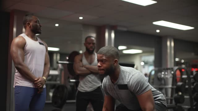 lifting weights in the gym - menschlicher muskel stock-videos und b-roll-filmmaterial