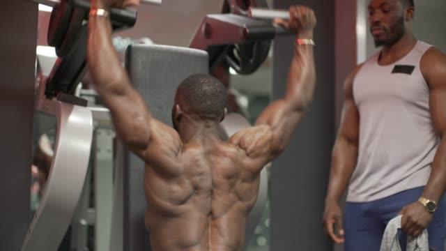 lifting weights on a machine in the gym. - menschlicher muskel stock-videos und b-roll-filmmaterial