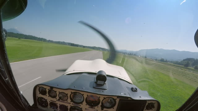 pov light aircraft pilot taking off - pilot stock videos & royalty-free footage