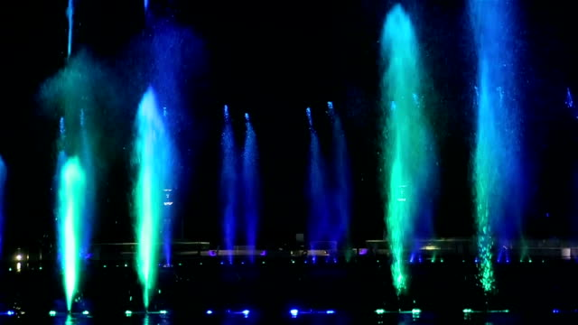 Light and music magic fountain at night