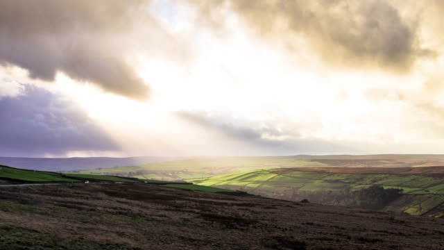 light and shadow on pennine moor - yorkshire england stock videos & royalty-free footage