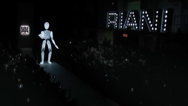 Light art performance on the runway at the Riani show during the Berlin Fashion Week Autumn/Winter 2019 at ewerk on January 16 2019 in Berlin Germany
