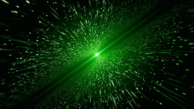 vidéos et rushes de faisceau de lumière, vert de particule (boucle) - répandre