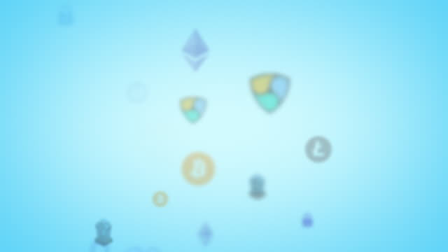 Light blue looping cryptocurrencies security animation