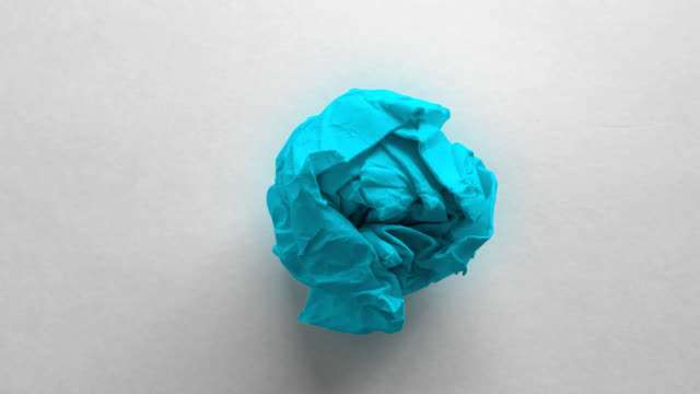 light blue paper ball wrinkled - crumpled paper stock videos and b-roll footage