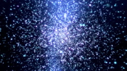 Light blue particle explosion in space