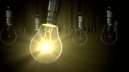 Light bulb animation. swing glow rising,