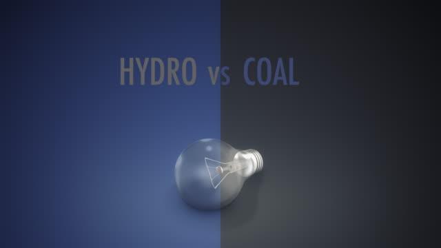 vídeos y material grabado en eventos de stock de bombilla de luz hydro vs carbón texto - signo de puntuación