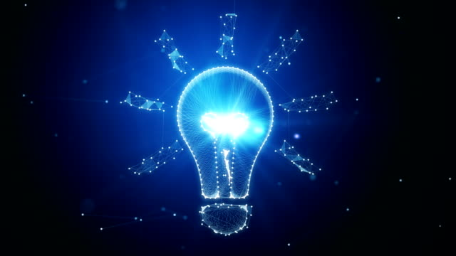Light Bulb Object Made With White Dots Spinning On Blue Background - Innovation And Creativity Concept