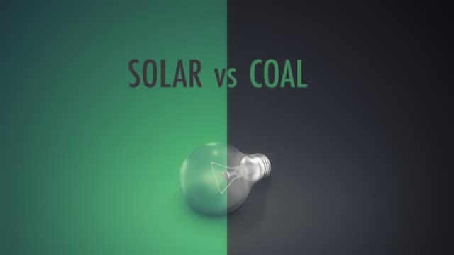 vídeos y material grabado en eventos de stock de bombilla solar vs carbón texto - signo de puntuación