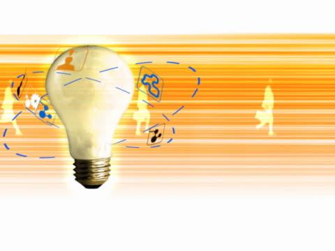 vídeos y material grabado en eventos de stock de light bulb surrounded by symbols - traje corbata