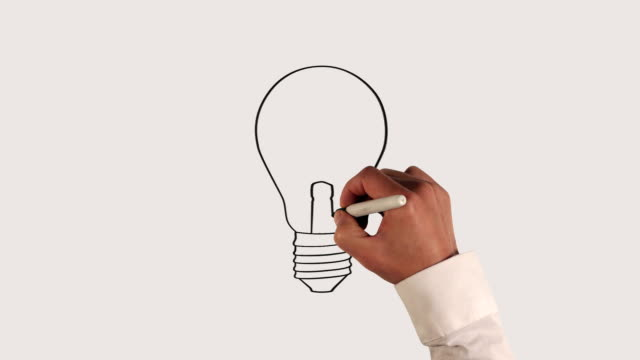 stockvideo's en b-roll-footage met light bulb whiteboard animation - ideas