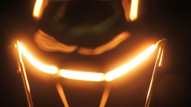 Light bulbs illuminate, Close-up