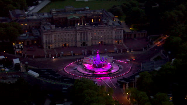 a light display glows on victoria memorial during a diamond jubilee concert at buckingham palace. - 2012 stock videos and b-roll footage