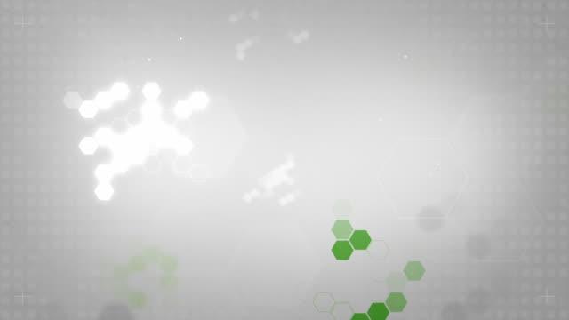 Leichte sechseckigen Hintergrund Loop-Green auf weichem, grauen (HD)