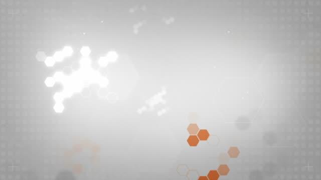 Light Hexagonal Background Loop - Orange On Soft Grey (HD)