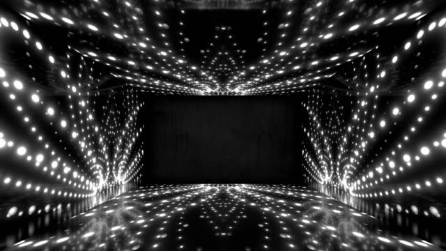 ライトはダンストンネルループコリドーを導いた。シームレスな画像。 - 発光ダイオード点の映像素材/bロール