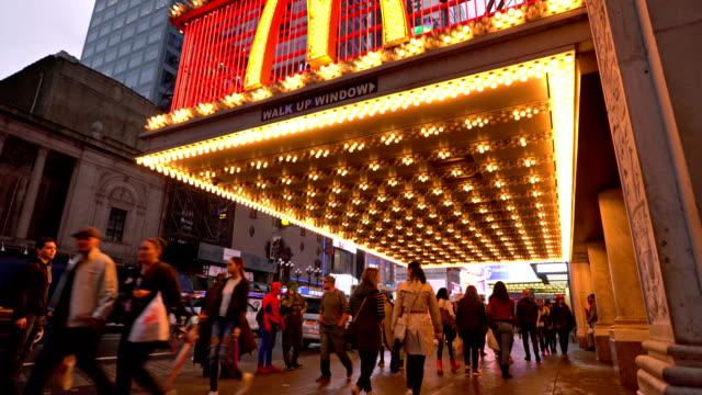 light of mcdonalds on 42nd street. - fast food restaurant stock videos & royalty-free footage