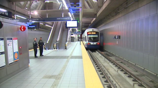 light rail in seattle. - rail transportation stock videos & royalty-free footage