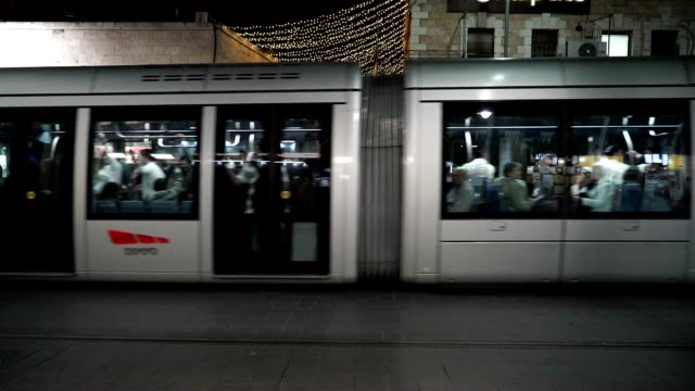 Light rail providing public transportation in the heart of Jerusalem runs through the Ben Yehuda shopping district