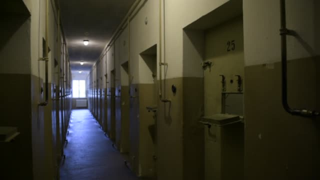 light shines down the former arrest cells of the buchenwald concentration camp on january 26 2018 near weimar germany tomorrow january 27 is... - campo di concentramento di buchenwald video stock e b–roll