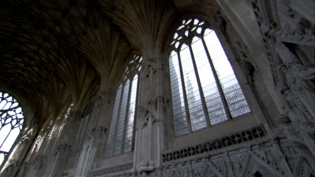 light shines through large windows in st edmundsbury cathedral, bury st edmunds. available in hd. - bury st edmunds stock videos & royalty-free footage