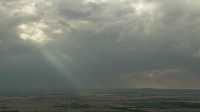 aerial light shining through clouds, saxony, germany - ドラマチックな空模様点の映像素材/bロール