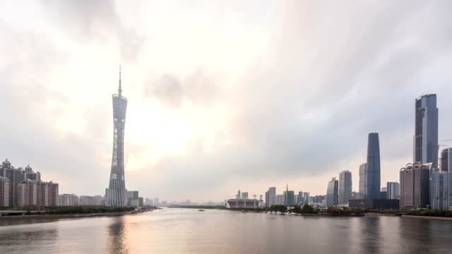 t/l ws cbd light show day-to-night / guangzhou, china - lightship stock videos & royalty-free footage