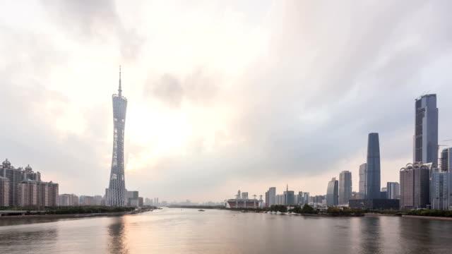 t/l ws cbd light show day-to-night / guangzhou, china - 灯台船点の映像素材/bロール