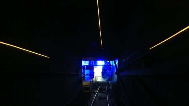 a light show in the funicular tunnel that goes up to lycabettus hill on august 23 2020 in athens during the coronavirus pandemic greece is... - lycabettus hill stock videos & royalty-free footage