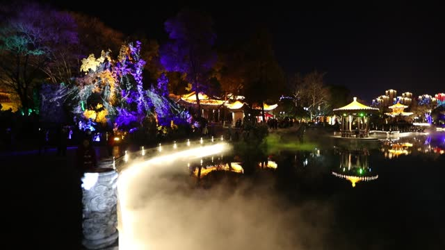 light show is illuminated on the third day of the chinese new year, the year of the ox, on february 14, 2021 in kunming, yunnan province of china. - three dimensional stock videos & royalty-free footage