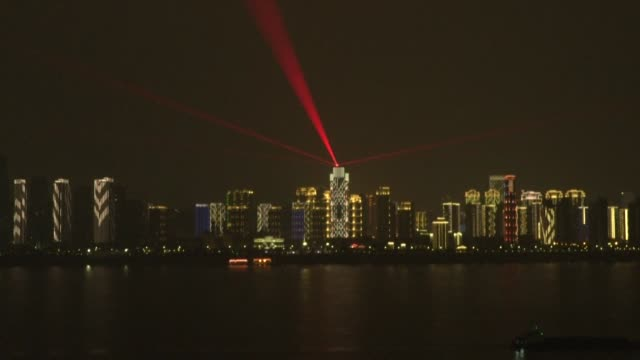 a light show takes place across wuhan the epicenter of a deadly coronavirus with words of encouragement as chinese authorities battle to contain an... - authority stock videos & royalty-free footage
