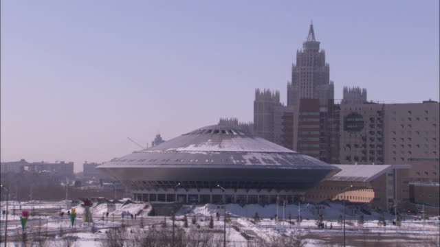 light snow covers the roof of the astana circus. available in hd - kazakhstan stock videos and b-roll footage