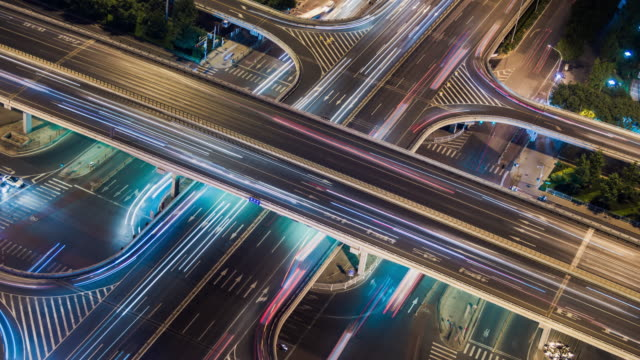 t/l ha light trail of beijing highway at night - light trail stock videos & royalty-free footage