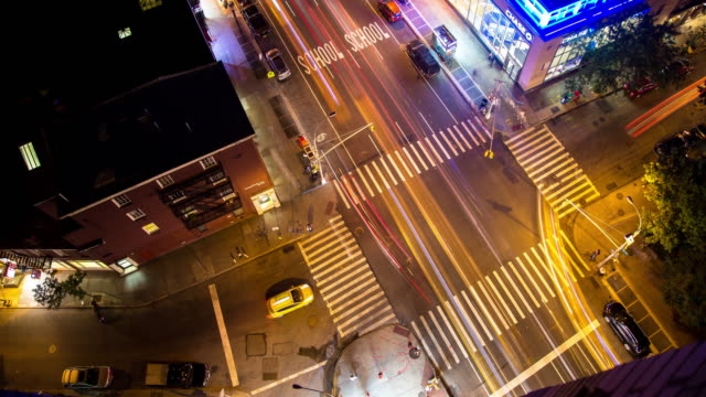 Light Trails at Manhattan Intersection -Timelapse