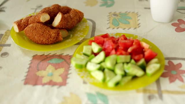 light turkish breakfast - tomato salad stock videos & royalty-free footage