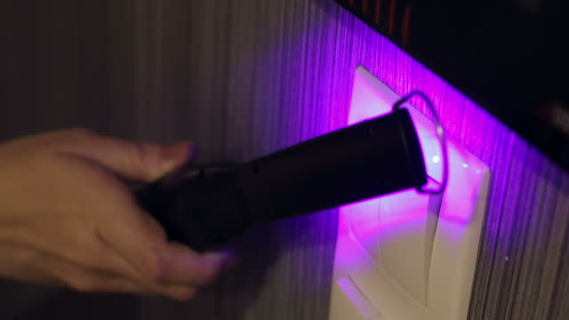 uv-c light ultraviolet destroy viruses on tools and surfaces, blue neon uv bulb., disinfecting mobile , cleaning the places that are constantly touched at home from the virus, protection from bacteria and viruses. coronavirus pandemic - quartz stock videos & royalty-free footage