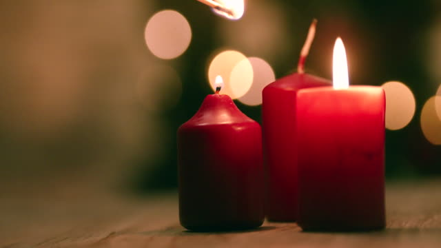 light up candles for christmas - candle stock videos & royalty-free footage