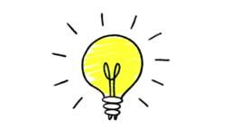 Lightbulb doodle animation, isolated on a white background