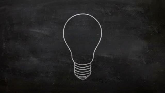 lightbulb on blackboard - blackboard stock videos & royalty-free footage