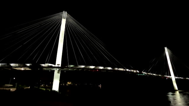 lighted bob kerrey pedestrian bridge over missouri river, city lights in distance. cable-stayed bridge, panorama, landmark. - omaha stock videos & royalty-free footage