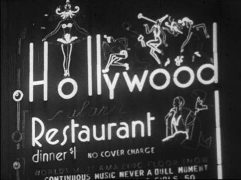 B/W 1928 lighted marquee of Hollywood Restaurant at night / NYC / newsreel