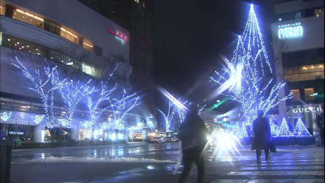 lighted trees illuminate a korinbo district plaza in kanazawa. - kanazawa stock videos and b-roll footage