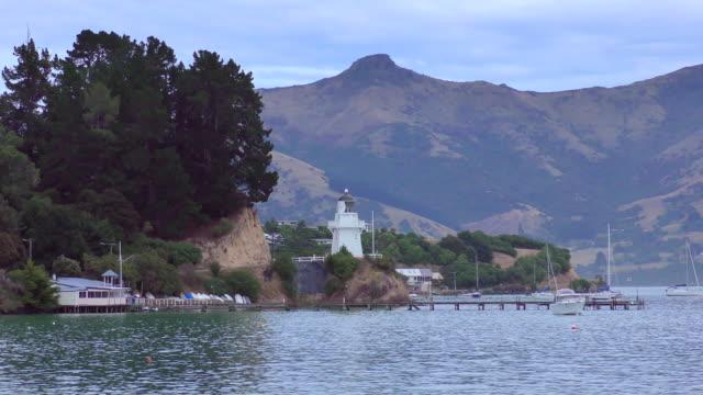 lighthouse - akaroa, new zealand - akaroa stock videos & royalty-free footage