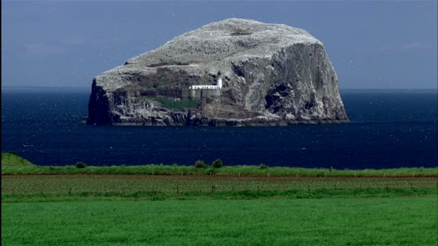 A lighthouse and castle ruins on Bass Rock in Firth of Forth is dwarfed by the massive island. Scotland