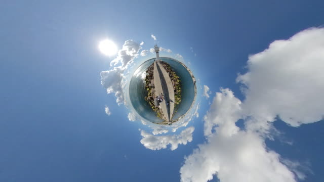 lighthouse and jetty as tiny little planet look at istanbul kadikoy 360 degree - fish eye lens stock videos & royalty-free footage