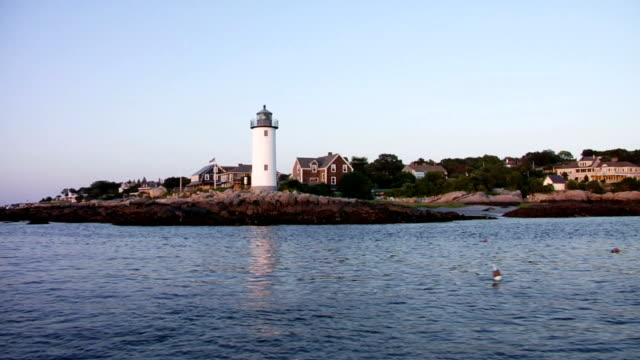 lighthouse, as seen from a boat, new england - gloucester massachusetts stock videos & royalty-free footage