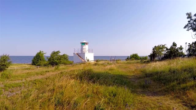 lighthouse at beautiful coastline - antenna aerial stock videos & royalty-free footage