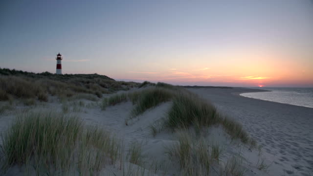 lighthouse at sunset - sylt stock videos & royalty-free footage